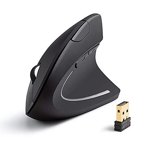 MEXI 2.4G Wireless Vertical Ergonomic Optical Mouse, Creative Shark Fin Mouse,5 Buttons for Laptop, Desktop, PC, MacBook,Black