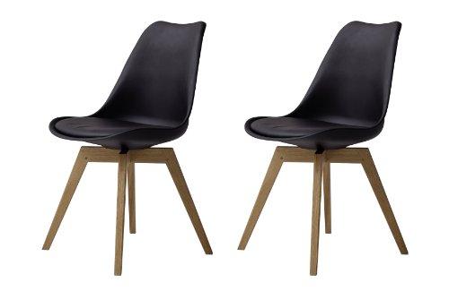 Tenzo 3317-854 Bess 2er-Set- Designer Esszimmerstühle, Kunststoffschale mit Sitzkissen in Lederoptik, Untergestell Eiche massiv, 82 x 48 x 54 cm, schwarz / eiche