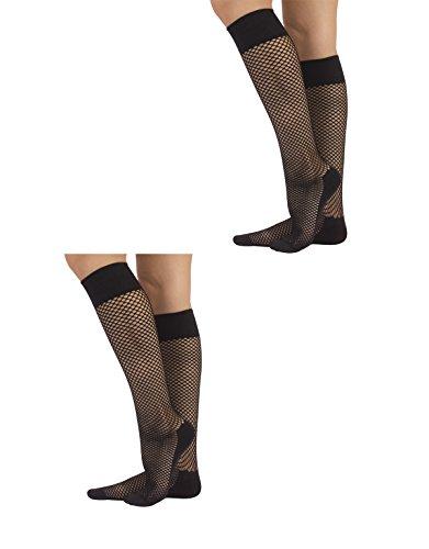 CALZITALY 2 Paar Knie Netzstrümpfe Kleines Lochmuster | Schwarz | Made in Italy