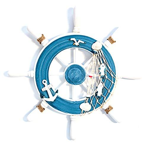 Fahibin Rueda de Barco de Madera, 32CM Volante Madera Decoración Barco Timón Estilo Mediterráneo para la Decoración del Tema Náutico