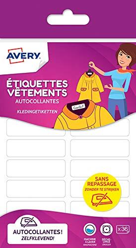 AVERY - Sachet de 36 étiquettes autocollantes pour vêtements, Format 45 x 13 mm,