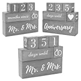 Wedding Countdown Calendar Block Engagement Gifts for Couples and His and Hers, Bride to Be   Includes Reversible Text Block for Marriage, Anniversary Celebration - Recently Engaged Gift Fiance Gifts