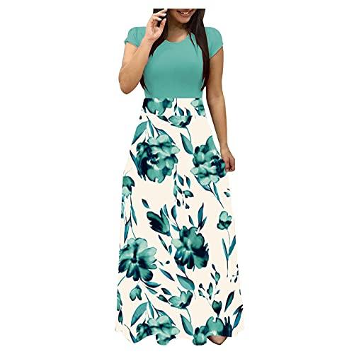 Zieglen Womens Dresses Floral Print Long High Waist Elastic Maxi Dress Casual Summer Beach Sundress Party Cover Up Dress