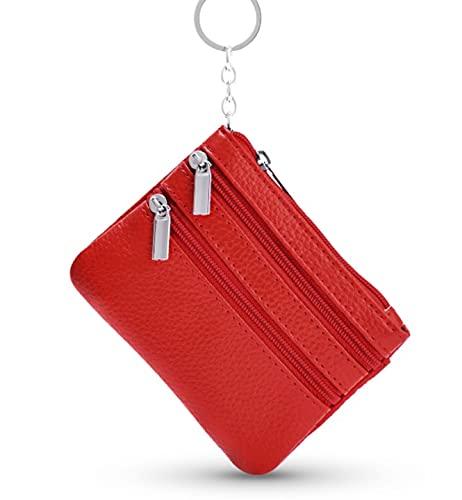 Mujer Cartera Monedero Pequeñas Piel Genuino Slim Portatarjetas Mini Monederos Billetera Cartera Tarjetero con Llavero y Cremallera (Rojo)