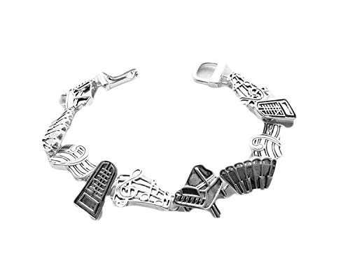 Icon Collection Silver - Plated Piano Music Bracelet