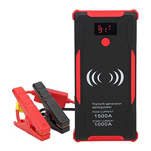 Arrancador portátil para automóvil, 1500A Peak 22000mAh Battery Jump Starter Power Pack con pantalla digital inteligente, abrazaderas y luz LED, 12V Auto Battery Booster Power Bank para automóvil, mot