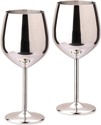 D L D Metal inastillable Copa de vino de acero inoxidable Copa de vino irrompible Bebida de jugo Fiesta de champán Barbería 2 Plata