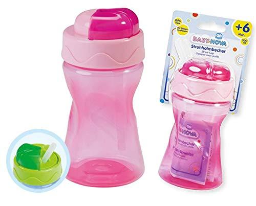Baby Nova 2er Set Trinkhalmbecher Strohhalmbecher Silikon (2er Set in rosa)