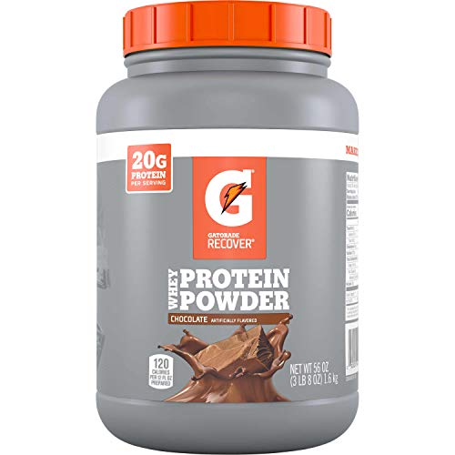 Gatorade Whey Protein Powder, Chocolate, 56 oz Canister (50 servings per canister, 20 grams of protein per serving)