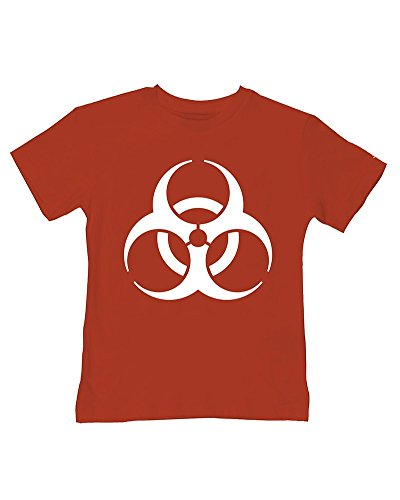Ice-Tees Biohazard Bébé - ICON Symbole Dangerous Toodler - T-shirt en coton doux pour enfant - Rouge - 2-3 ans