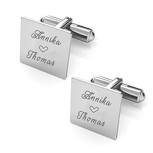 Manschettenknöpfe Bräutigam Sterling Silber 925 mit Gravur: Namen, Herz,Initialen, Datum, Hochzeit Geschenk (Edelstahl)