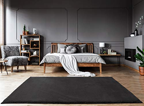 Mia´s Teppiche Bella Alfombra de salón de Pelo Largo Suave de 30 mm, Piel sintética, 100% poliéster, Negro, 60x90 cm