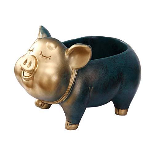 Clave de Almacenamiento en Rack decoración casera Creativa Lucky Cerdo de Escritorio Caja de Almacenamiento (Color : Copper Green)