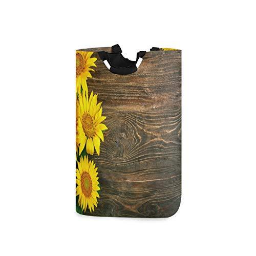 BGIFT Cesta de madera con diseño floral de girasol, plegable, con asa, impermeable, doble grande, para ropa sucia, organizador de dormitorio, habitación de guardería