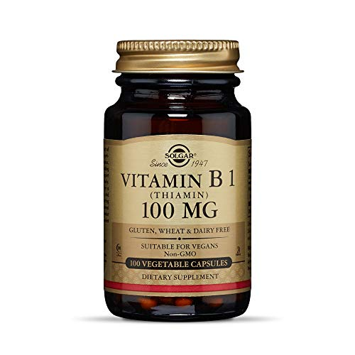 Solgar Vitamin B1 (Thiamin) 100 mg, 100 Vegetable Capsules - Energy Metabolism, Healthy Nervous System, Overall Well-Being - Non-GMO, Vegan, Gluten Free, Dairy Free - 100 Servings