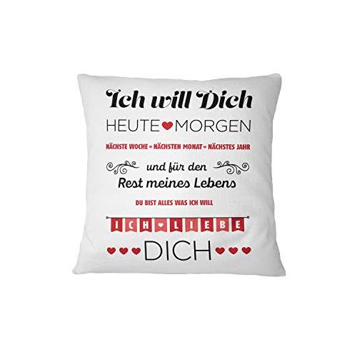 Kissen mit Spruch Ich Will Dich, Ich Liebe Dich - Geschenk für Frau, Freundin - Kissenhülle inklusive Kissen (Rot)