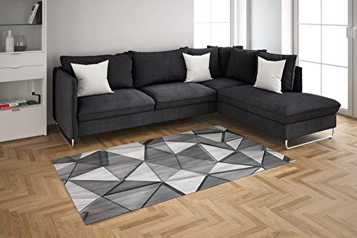 Oedim Alfombra Formas Geométricas Imitación Madera Blanco y Negro para Habitaciones PVC   95 x 165 cm   Moqueta PVC   Suelo vinílico   Decoración del Hogar   Suelo Sintasol   Suelo de Protección  