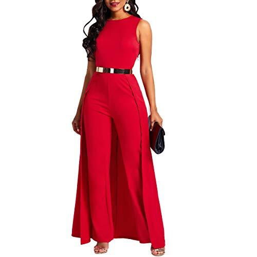 VERWIN Patchwork Overlay Embellished Plain Women's Jumpsuit High-Waist Woman Romper Red XL