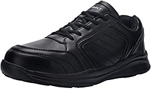 DYKHMILY Waterproof Safety Trainers for Men Women Steel Toe Cap Safety Boots Lightweight Puncture Proof Non Slip Safety Shoes (Bright Black,10 UK)