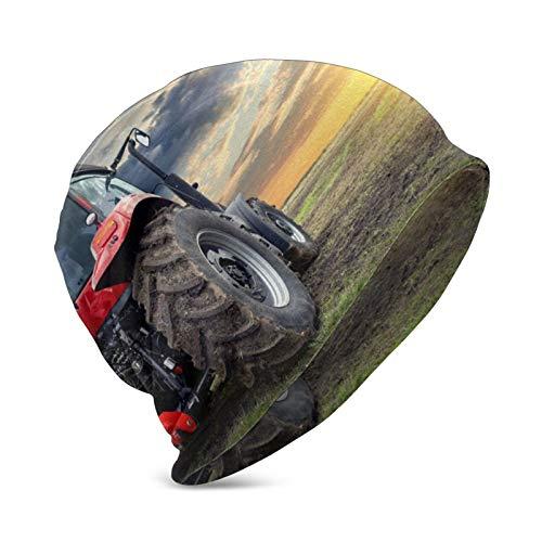 Tractor Trabajando en la Granja Sunset Modern Soft Slouchy Beanie Hat Stretch Infinity Scarf Head Wrap Cap
