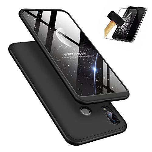 MISSDU kompatibel mit Premium Hart PC 360 Grad Hülle Huawei Honor Play Hülle + Panzerglas,3 in1 Handytasche Handyhülle Schutzhülle Cover - Schwarz