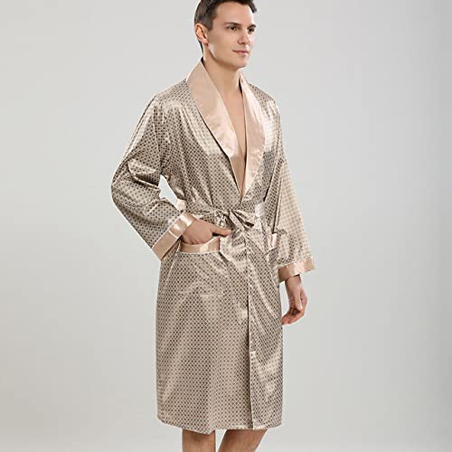ZZJHH Pijamas Sueltos de la Bata de baño de los Hombres, Bata de Seda Artificial, Ropa Interior Suave del satén Ocasional, Ropa de casa, Caqui, S