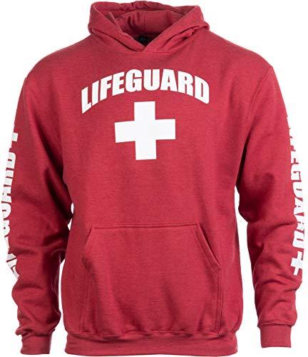 LIFEGUARD | Red Unisex Uniform Fleece Hoody Sweatshirt Hoodie Sweater Men Women - Hood,XL