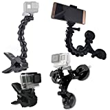 GreatCool Auto Treppiede Ventosa con Testa a Sfera 360°+ Jaws Flex Clamp Mount + Collo d' oca...