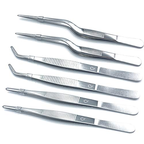 FRUTA 6 Pieces Tongs Tweezers Cooking Tweezers Stainless Steel Tongs Tweezer with Precision Serrated Tips for Cooking Culinary and Medical Beauty Utensils, 6.3 Inch