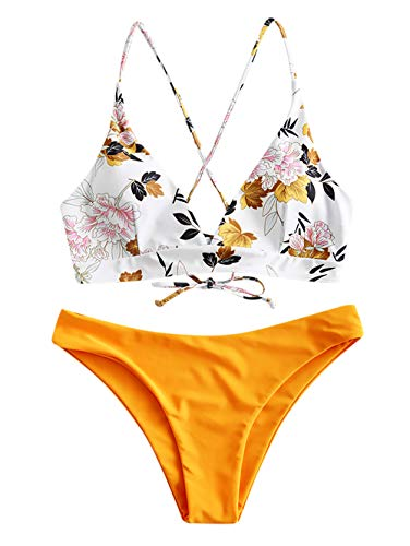 ZAFUL Damen Floral Leaf Lace Up Cross Bikini Set Beachwear Gelb M