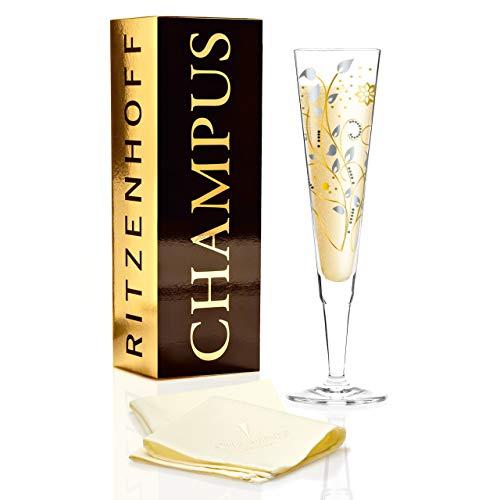 RITZENHOFF Champus Champagnerglas von Nuno Ladeiro, aus Kristallglas, 200 ml, mit edlen Gold- und Platinanteilen, inkl. Stoffserviette