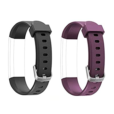 ToThere ID115U Replacement Straps - Adjustable Replacement Watch Bands for Fitness Tracker ID115U, ID115U HR,NOT for ID115Plus HR (Black+Purple)