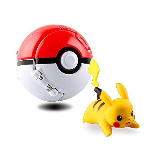 Pokemon Ball,Poke Ball,Pokeball Pokemon,Figurina Poke Ball,Throw Pokemon PokéBall,Bambini e Adulti Festa Giocattolo Regalo (Pikachu)