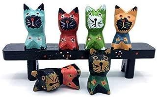 CCKANSCLE Wooden Cartoon Cat Crafts Decoration Set