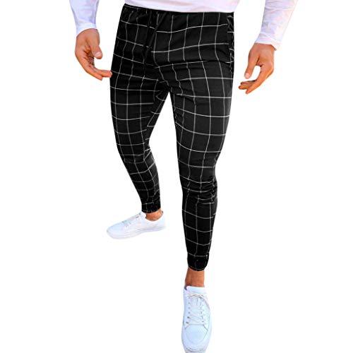 Pantalones Hombre Casual Moda Deportivos Running Pants Jogging Pantalon Fitness Gym Slim Fit Pantalones Largos Impresión a Cuadros Pantalones Ropa de Hombre Pantalones de Trekking vpass