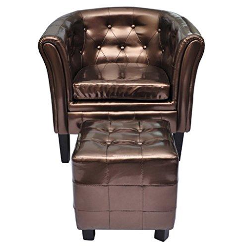 Anself Sessel Polstersessel Armsessel Wohnzimmersessel Loungesessel mit Hocker Chesterfield