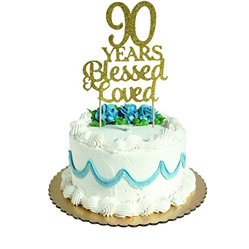90 Years Blessed & Loved Cake Topper for 90th Birthday, Wedding Anniversary Party Decorations Gold Glitter