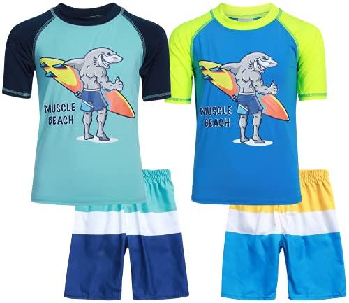 Sweet & Soft Boys UPF 50+ Boys Short Sleeve 4 Piece Rash Guard & Trunk Swimsuit Set (Infant/Toddler/Little Kid), Size 24 Months, Muscle Beach