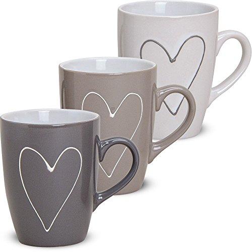matches21 Große Tassen Becher Herzdekor Herzen grau/beige/weiß 3 Stk. Set aus Keramik gefertigt je 11 cm / 250 ml