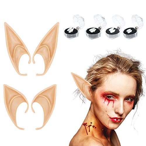 Colmanda 2 Pares Orejas de Elfo + 4 Pares Dientes de Vampiros, Orejas De Elfo Latex Elf Ear Divertido Orejas De Elfo Fiesta de Halloween Disfrazar para Adultos Cosplay Halloween Carnaval