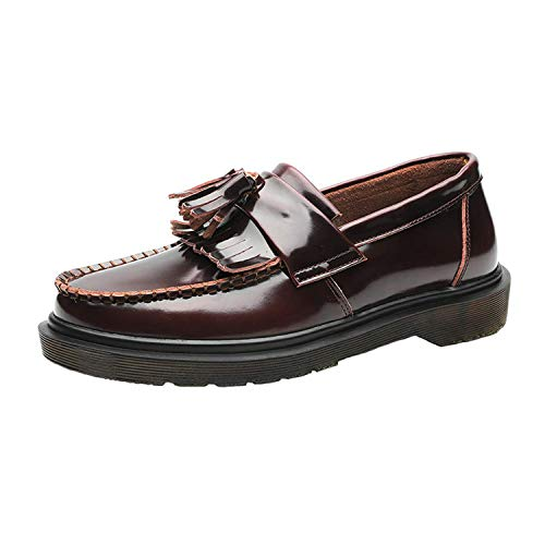 Borlas Cuero Pulido Retro Antideslizante Hombres Zapatos
