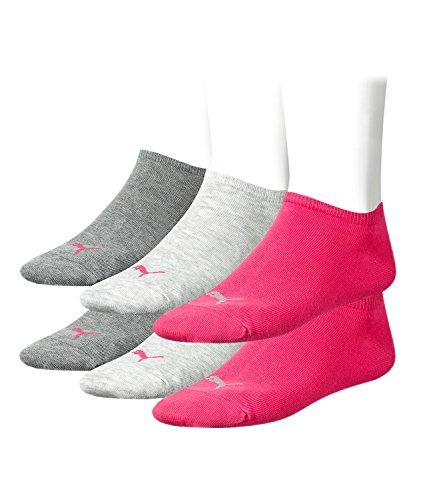 PUMA Unisex Invisible Sneaker Socken Sportsocken Kurz 6er 251025, Sockengröße:39-42;Artikel:-656 middle grey mel. / pink