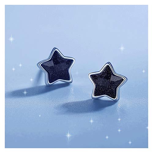 SSN Pendientes De Estrella Hembra 925 Plata Esterlina 2021 Pendientes Niche Negra Instrumentos De Estrella De Cinco Puntas Simples (Color : A)
