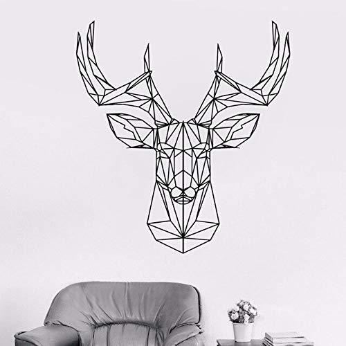Calcomanía de cabeza de ciervo geométrica cornamenta de ciervo calcomanía de pared de caza origami vinilo pegatina animal pared decoración simple moda pegatina de pared A6 L 52X57cm