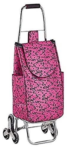 TabloKanvas Carrito de Compras en Ruedas Stair Escalada Carro Plegable Carrito de la Compra con Bolsa Impermeable Push/Tull (Color : Pink, Size : 26x21x100cm)