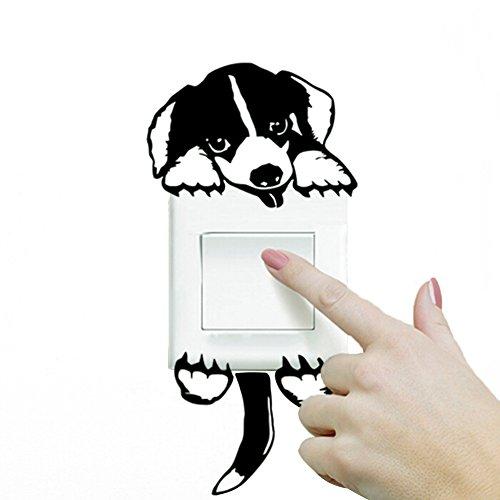 Hacoly Lichtschalter Wandaufkleber Hunde Dackel Wandschalter Wandsticker Möbel Küche Toilette Steckdose selbstklebend Aufkleber Wandtattoo Esszimmer Wanddeko Ideal für die Dekoration Ihres Hauses -