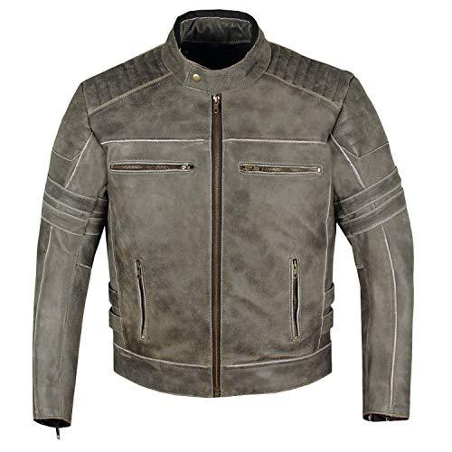 Men's SHADOW Motorcycle Distressed Cowhide Leather Armor Black Jacket Biker M