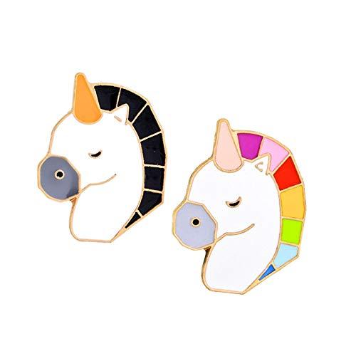 ZSCZQ Broches de Caballo de Pegaso de Dibujos Animados, alfileres de Esmalte de Animales Bonitos, Chaquetas de Mezclilla, alfiler de botón, Insignias para Mochila, Regalos de joyería para niño