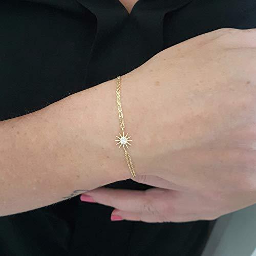 14K Echtes Gold Sonne verziert Winzige zierliche zarte Charme, erste und trendige Armband Der beste Weg zu sagen, Sie sind mein Sonnenschein für Frauen Schmuck Freundin Frau Mutter Sonnenarmband