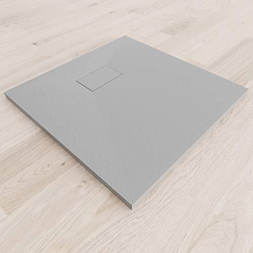 Moments of Glass SMC Duschwanne 80x80 cm Quadratisch Duschtasse mit Anti-Rutsch Flach mit Steinoptik – Grau